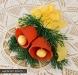 Stroik świąteczny z dzwonkami - kwiaty z bibuły